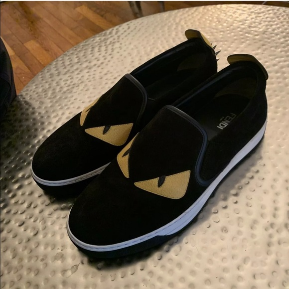 free shipping 4d85b c88c5 FENDI MONSTER Calf Leather Suede Sneakers FENDI 6